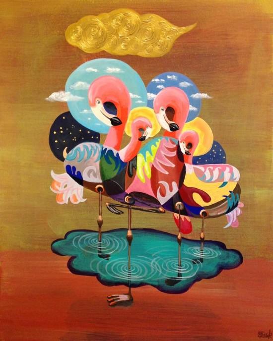 Flamingo Seitaku Tak Aoyama Commission Painting